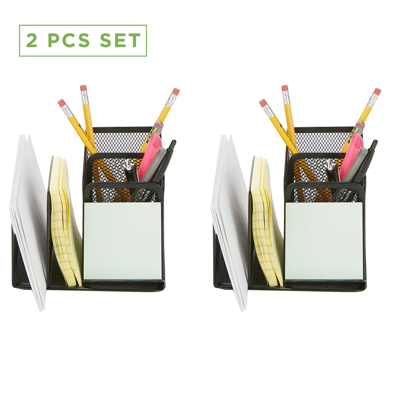 Mind Reader Desk Organizer [5-Compartment, 2-Piece Same Set] Supplies and Accessories Storage For Office Desk with Mail Sorter, Sticky Note Pad Holder, Pencil and Pen Basket, Paper Clip Tray, Black