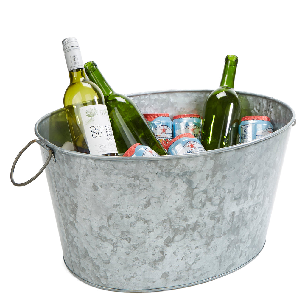 Heavy Duty Oval Galvanized Iron Ice Bucket Beverage Chiller Tub, Silver