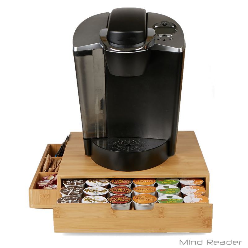 Bamboo 36 Capacity K-Cup Single Serve Coffee Pod Drawer with Side Condiment Caddy Organizer, Brown