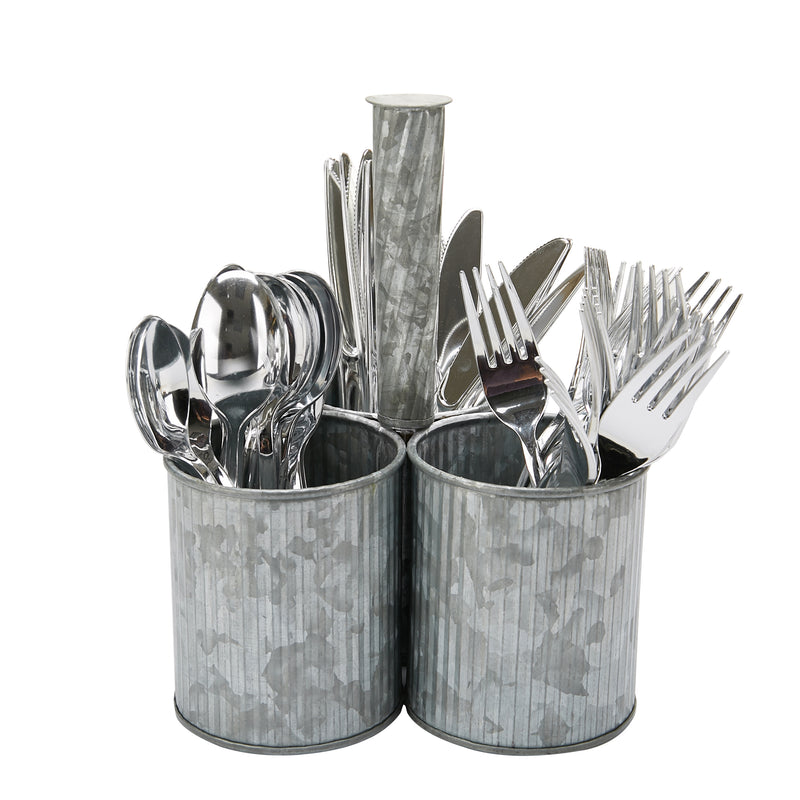 Lines Galvanized 3 Section Utensil Holder, Cutlery Holder, Flatware, Silverware Organizer, Forks, Spoons, Knives, Utensil Caddy, Multi-Purpose Holder, Perfect for Silverware, Office Supplies, Silver
