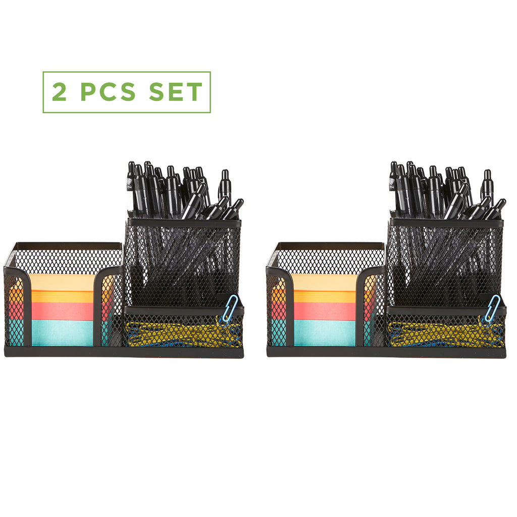 Desk Organizer [3-Compartment, 2-Piece Same Set] Supplies and Accessories Storage For Office Desk with Sticky Note Pad Holder, Pencil and Pen Cup,  and Paper Clip Tray, Black