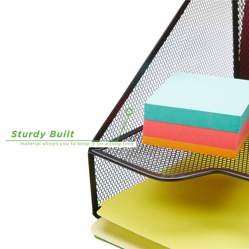 3 Section Mesh Desk File Organizer, Document Letter Tray for Folders, Mail, Stationary, Desk Accessories