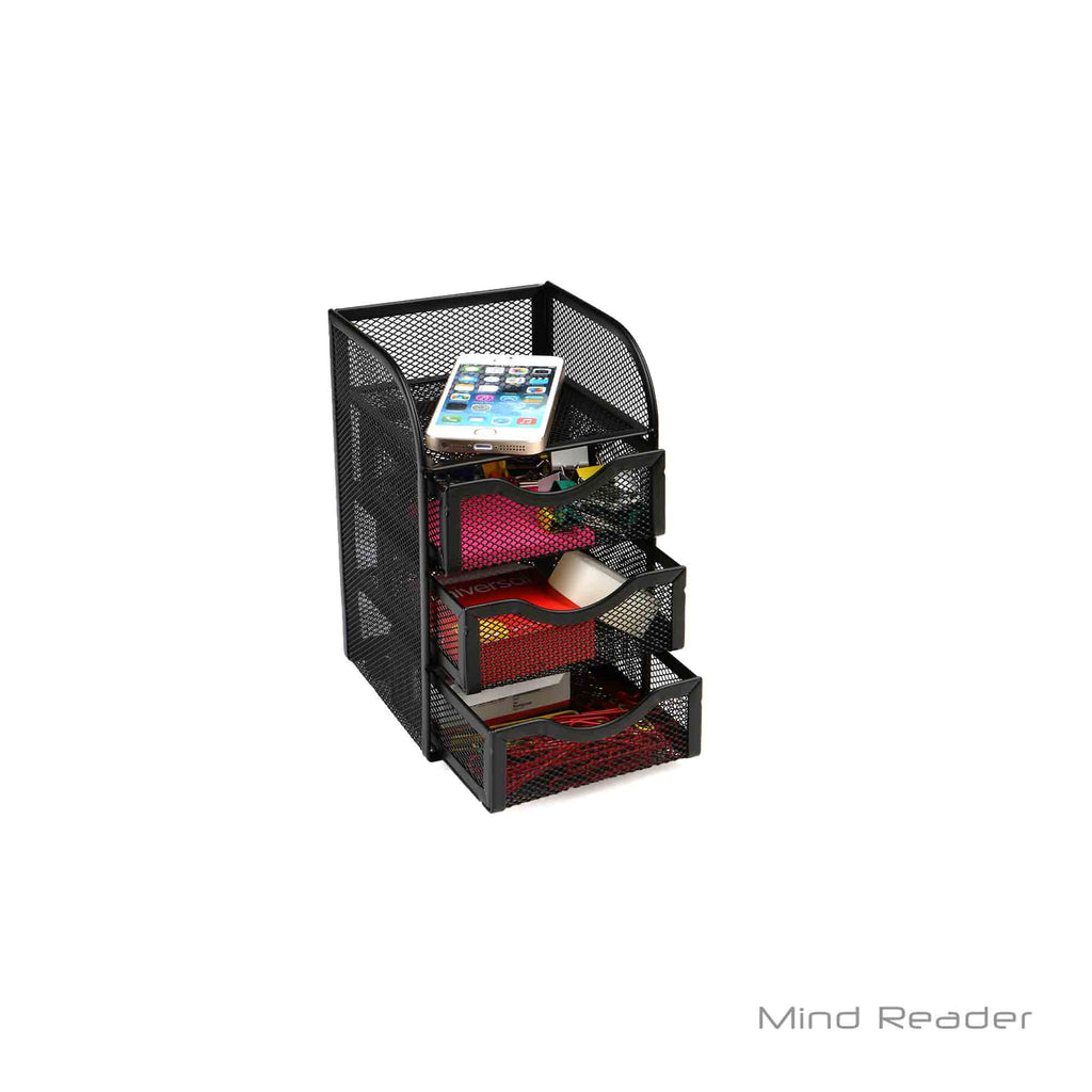 Mind Reader Mini Desk Supplies Office Supplies Organizer, 3 Drawers, 1 Top Shelf, Black