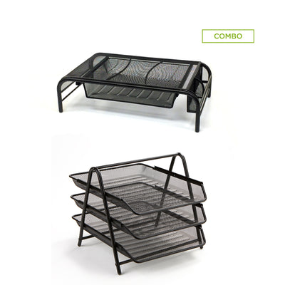 Metal Mesh Monitor Stand with Drawer Organizer, and  3 Tier Steel Mesh Paper Tray Desk Organizer, Black 2 Pc Set