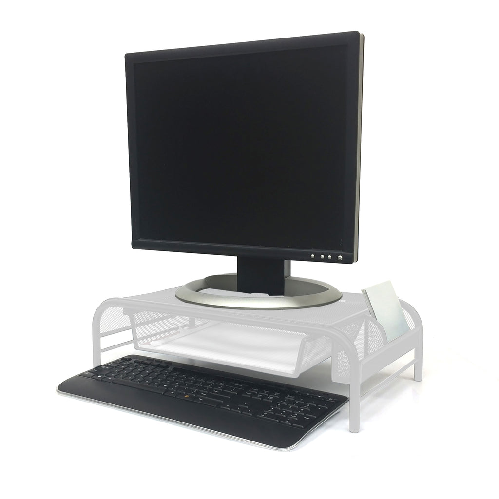 Mesh Monitor Stand With Drawer, Metal Mesh Stand & Desk Organizer with Drawer, White