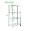 Mind Reader 4 Tier Adjustable Heavy Duty Metal Storage Rack Shelving Unit with Wheels, Silver