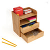 Mind Reader Bamboo 4 Tier Desk Organizer with 2 Drawers, Brown