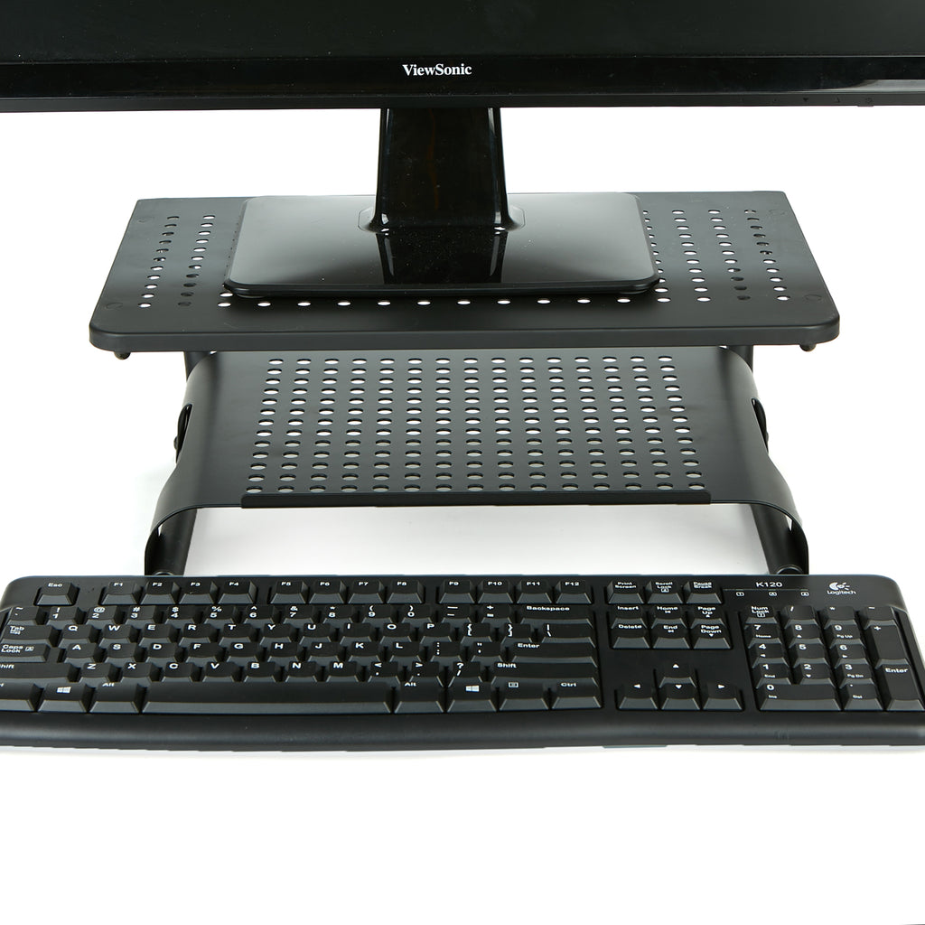 Mind Reader Monitor Stand Riser, 2 Tier, Ventilated Metal for Computer Monitor, Laptop, Storage for Keyboard, Black