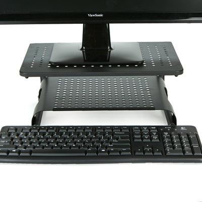 Monitor Stand Riser, 2 Tier, Ventilated Metal for Computer Monitor, Laptop, Storage for Keyboard, Black