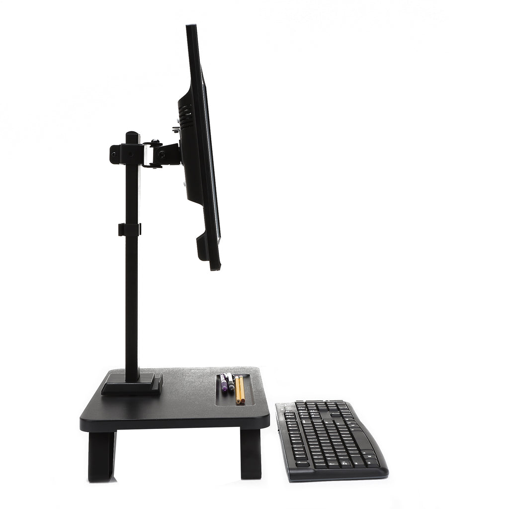 "Single LCD Monitor Desk Mount Stand, Adjustable Tilt Feature for 1 Screen 17"" to 32"", Stand for Keyboard or Desk Accessories, Black"