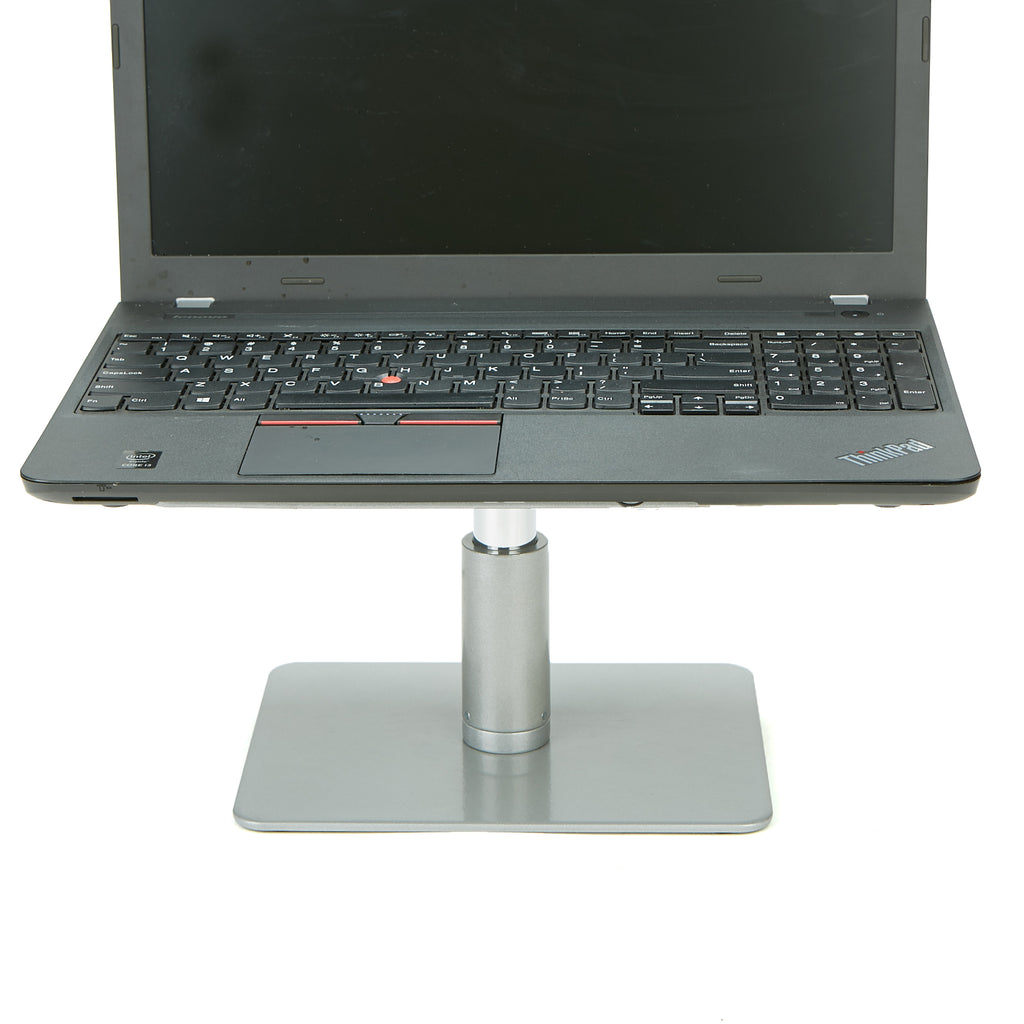 Mind Reader Table Top Monitor Riser, Metal Laptop Stand, Adjustable Riser, Silver with Black Top