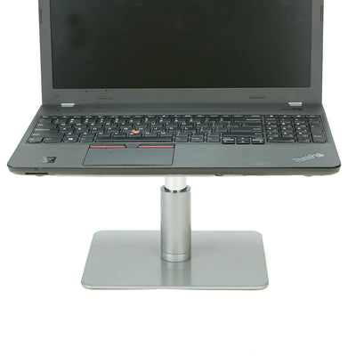 Table Top Monitor Riser, Metal Laptop Stand, Adjustable Riser, Silver with Black Top