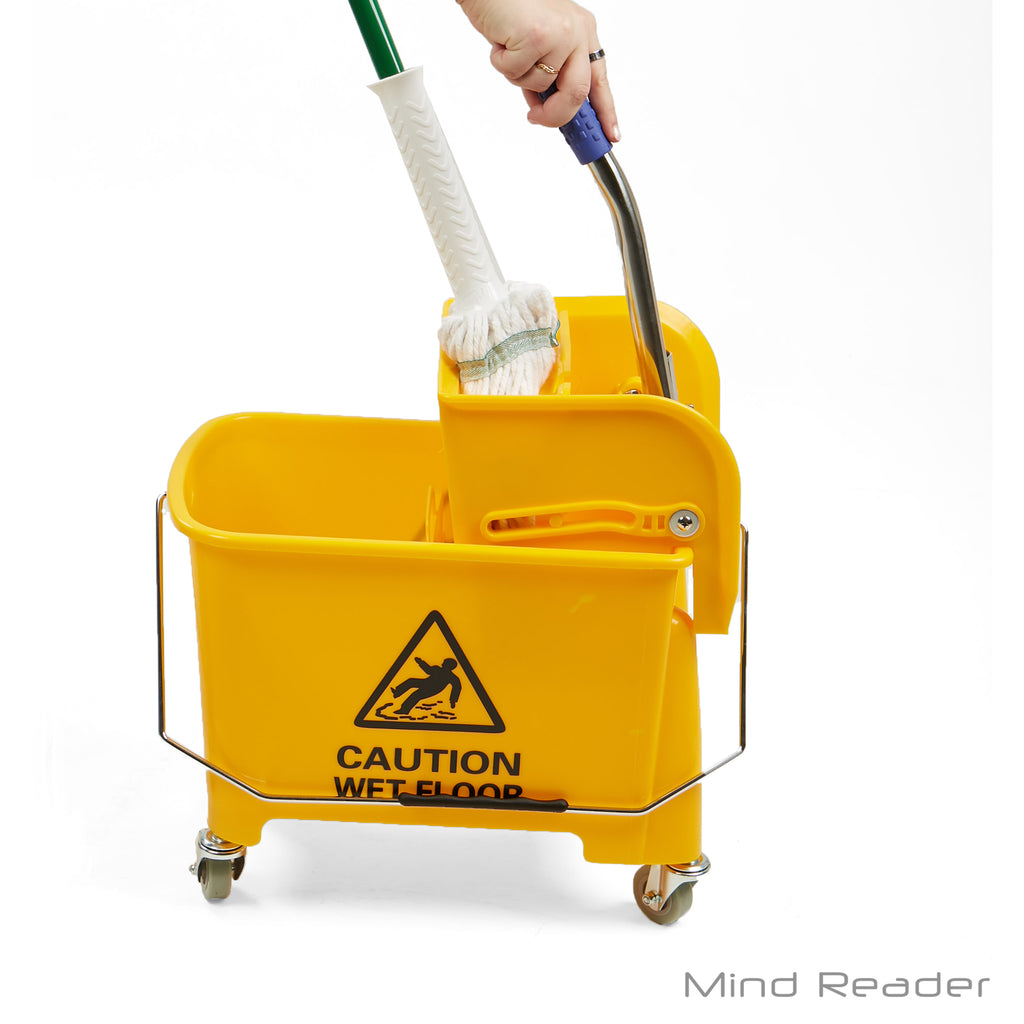 Mind Reader 20 Liter Heavy Duty Mop Wringer Trolley, Yellow