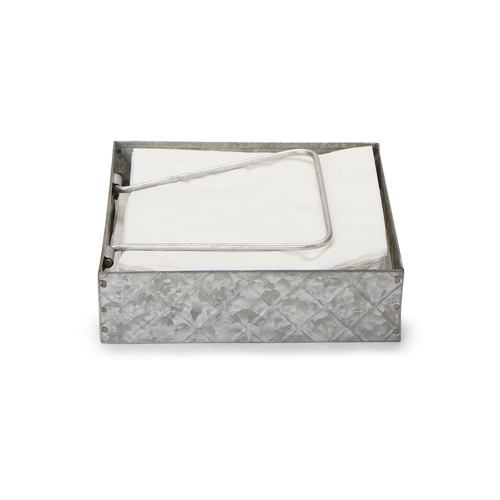 Galvanized Napkin Holder with Pivoted Arm, Silver