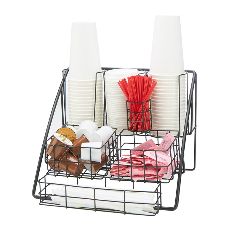 Condiment Station Organizer for Breakroom, Black