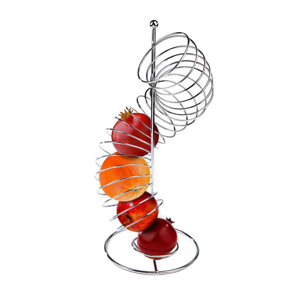 Stainless Steel Spiral Fruit Basket Holder, Silver