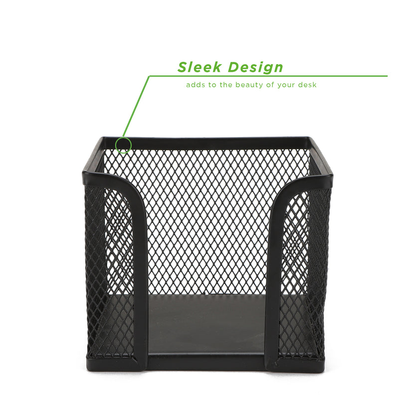 Mind Reader 2 Pack Post-it Memo Holder, Metal Mesh Sticky Note Holder, Designed to work with Post-It Pop-Up Notes, Office, 4 in x 4 in, Black