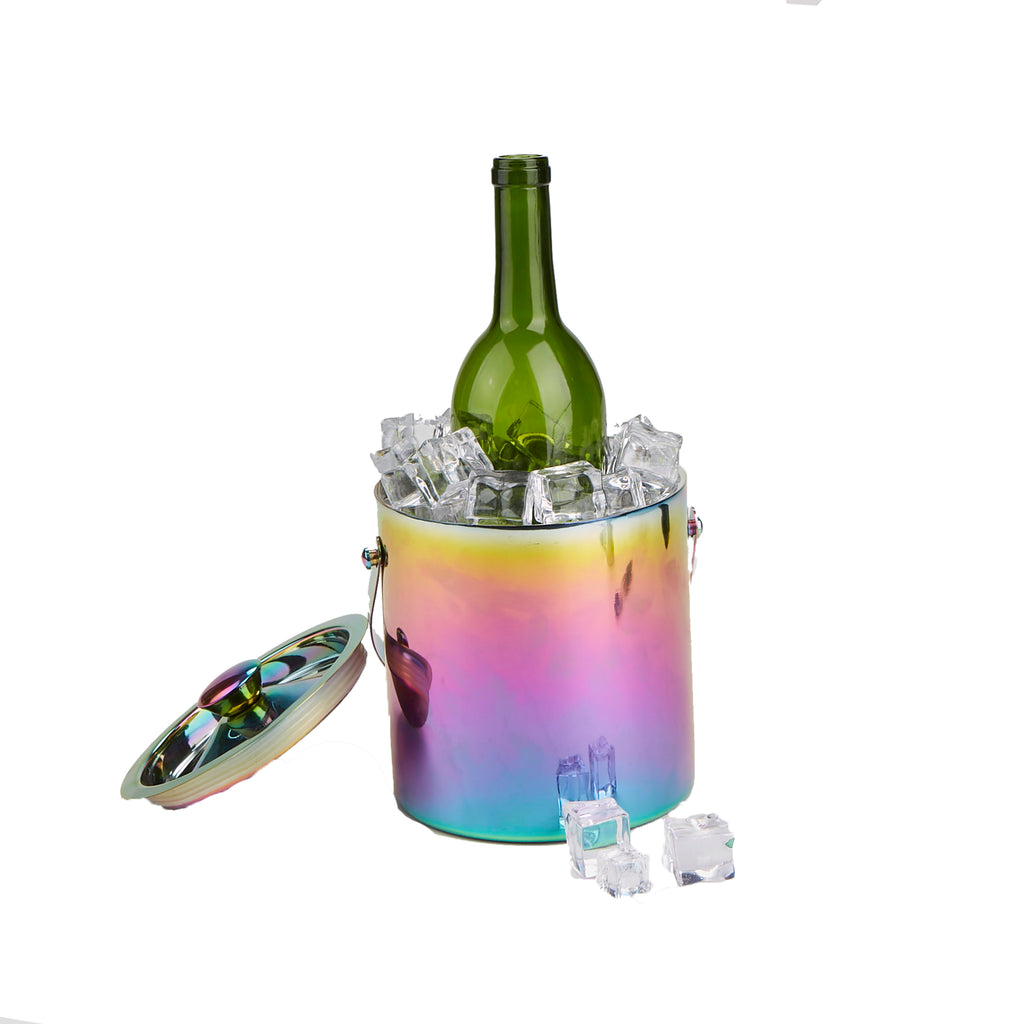 Mind Reader Metal Ice Bucket with Handles, Reflective Rainbow Ice Chiller Bucket