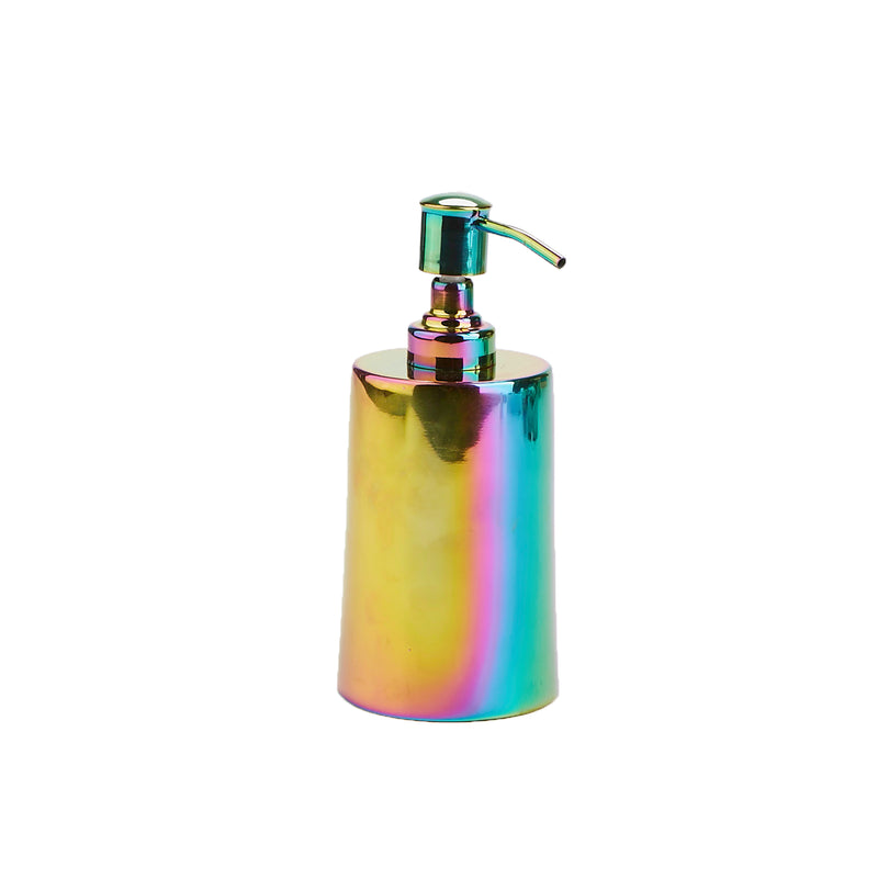 Mind Reader Liquid Soap Dispenser, Lotion Dispenser, 16 Oz, Iridescent Rainbow