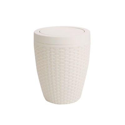 Mind Reader Bath Bin, Trash Can Wastebasket, Bathroom Garbage Bin, Home, Hotel, Office, Ivory