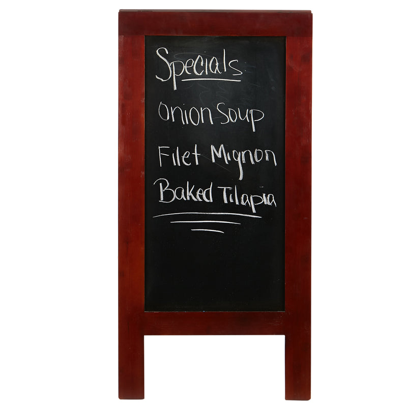 Mind Reader 40X20 Free Standing Chalkboard Restaurant Sign, Wooden Chalkboard Display, Freestanding Heavy-Duty A-Frame Chalkboard, Brown