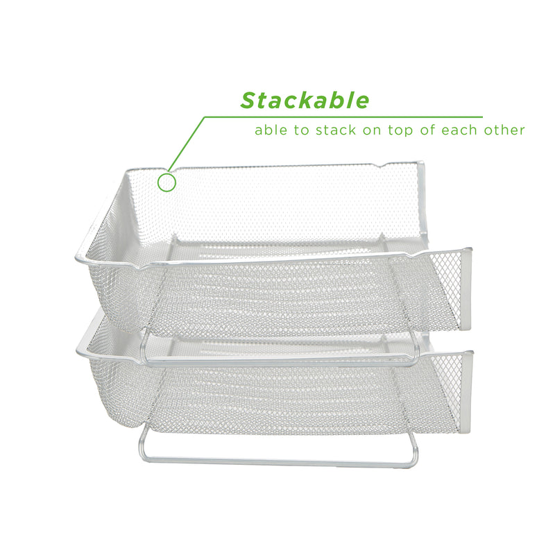 Mind Reader Multi-Piece Stackable Letter Tray, Side Load Storage Tray, Stackable Letter Legal Tray, Tray Mesh Desk Organizer, Document Holder, Magazine Storage, Desktop File Organizer