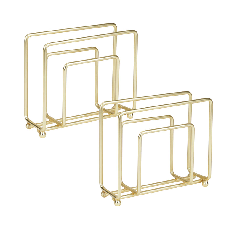 Wire Napkin Holder, Free-Standing, Pack of 2, Stainless Steel, Gold