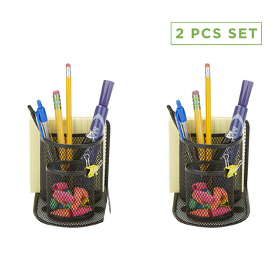 2-Piece Pencil Organizer, Pen, Pencil, Paperclip, Thumbtack Holder, Office Supplies Storage Organizer, Sticky Notes, Index Cards