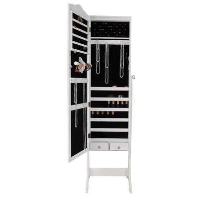 Standing Jewelry Armoire Cabinet Mirror with 14 LED Lights, Jewelry Storage Cabinet