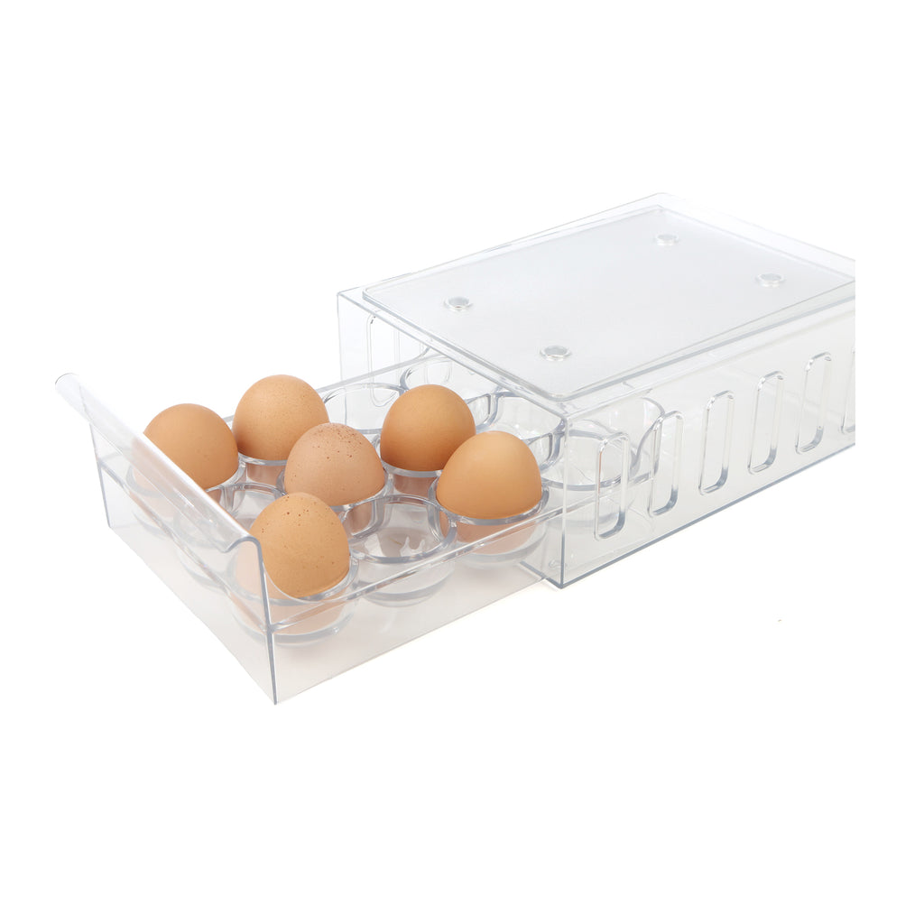 12 Count (One Dozen) Egg Holder Refrigerator Storage Container, Clear