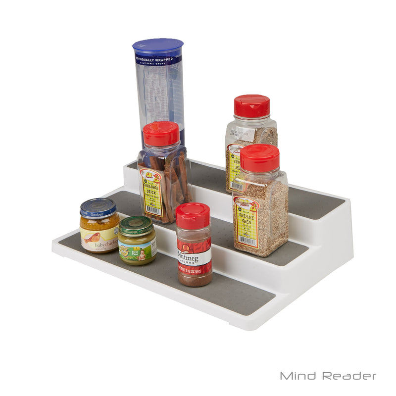 3-Tier Spice Pantry Kitchen Cabinet Organizer, Non-Skid, Shelf Organization, White/Gray