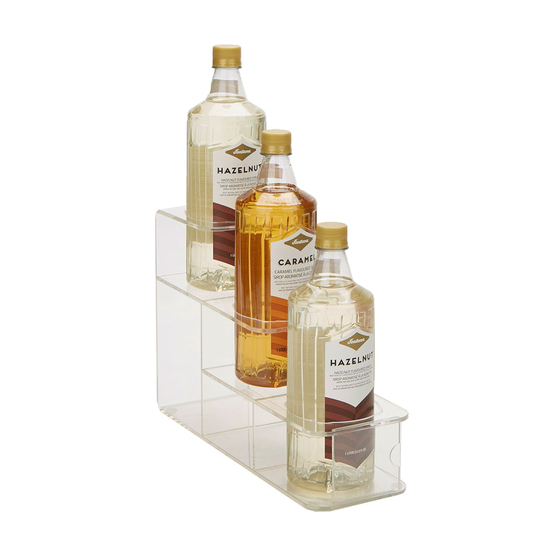 Clear Syrup Bottle Holder, Acrylic 3 Compartment Bottle Organizer, Storage for Syrup, Wine, Dressing - 3 Capacity, Clear