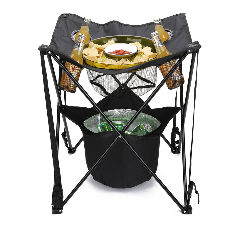 Tailgating Table Collapsible Folding Camping Table with Insulated Cooler, Food Basket, and Travel Bag for Barbeque, Picnic, Camping, and Tailgate