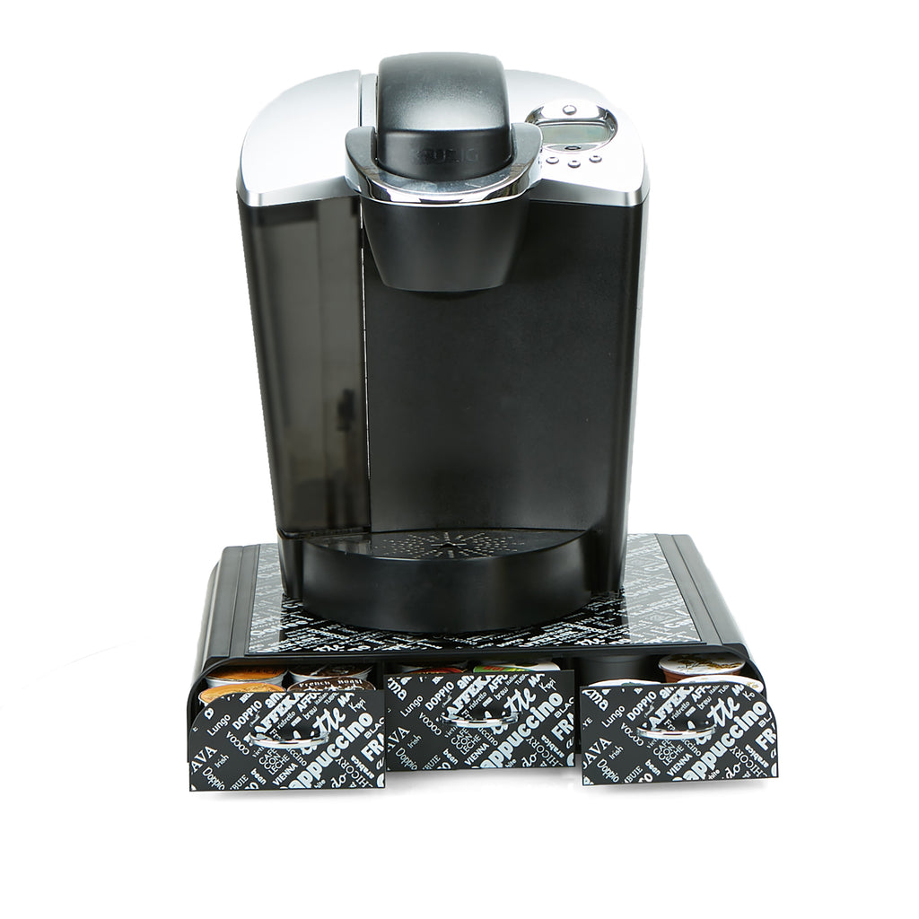 36 Capacity 'Anchor' Triple Drawer Single Serve Coffee Pod Holder, Black Print