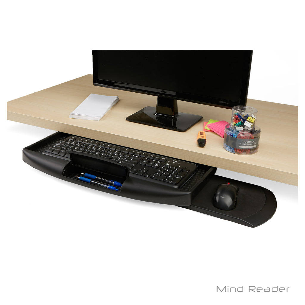 Mind Reader Under Desk Keyboard Holder with Closable Writing Utensil Compartment, Black