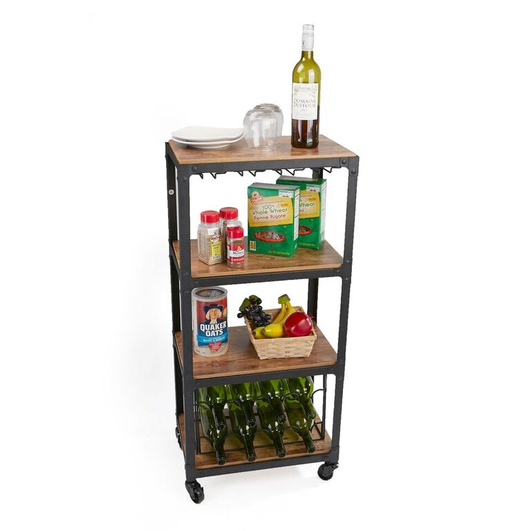 Mind Reader 4 Tier Wood and Metal Cart with Wine Rack