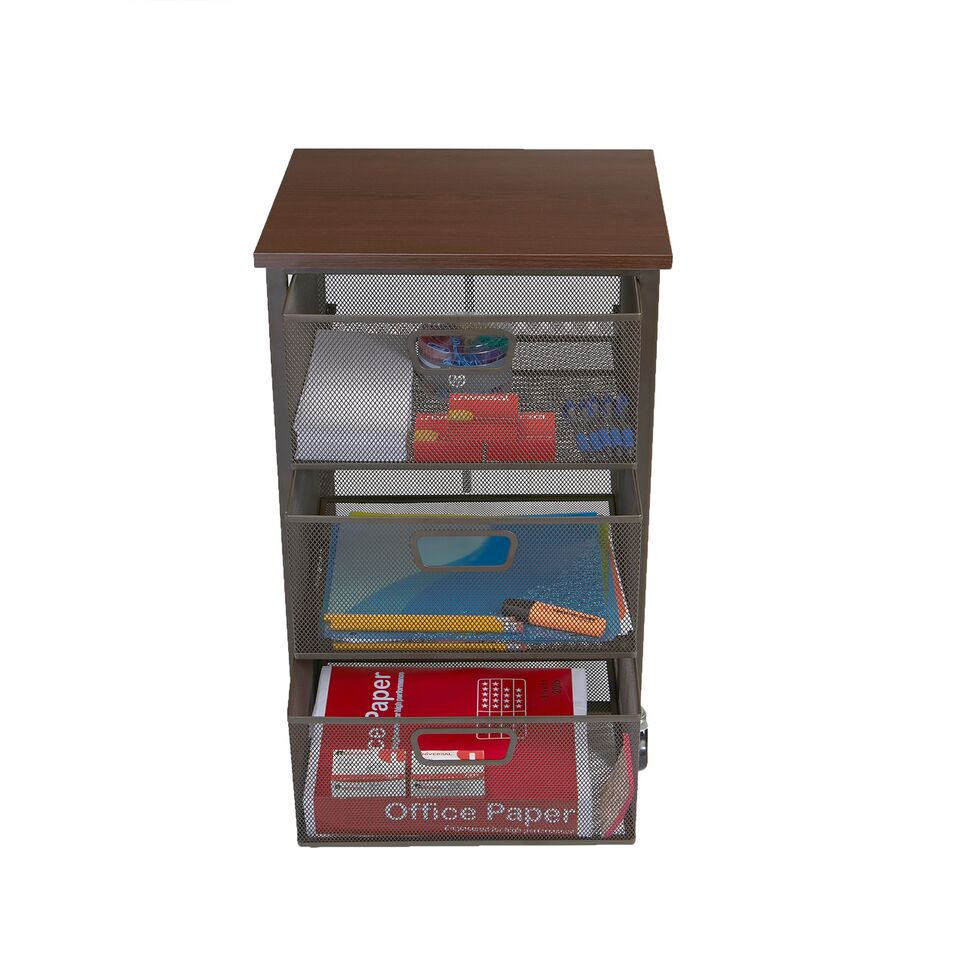 Mind Reader Rolling Storage Cart with 3 Drawers (File, Utility, Bathroom, Office Cart Drawer Storage)