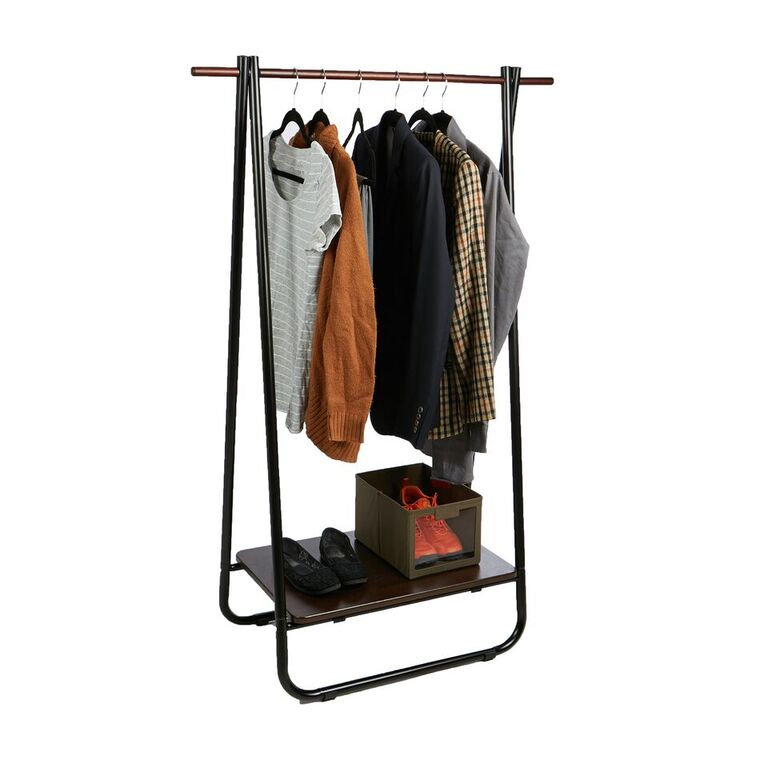 Mind Reader Foldable Single Garment Rack with Medium Density Fiberboard Shelf