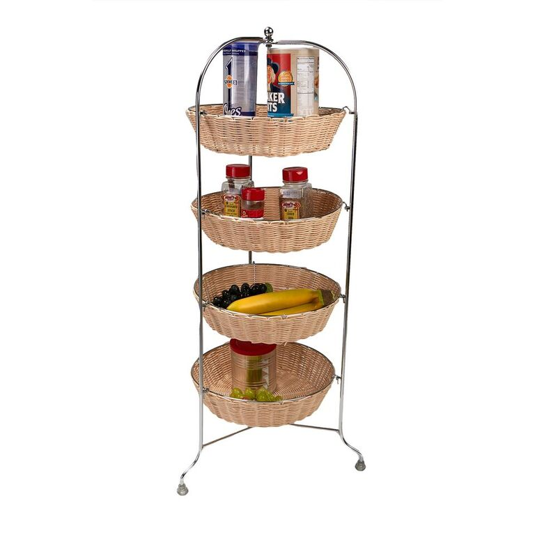 Mind Reader 4 Tier Woven Baskets All Purpose Round Mobile Utility Cart