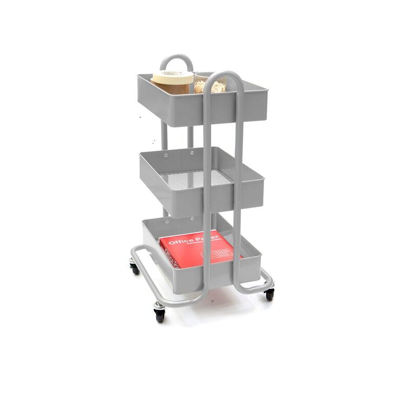 Mind Reader Heavy Duty 3 Tier Metal All Purpose Mobile Utility Cart