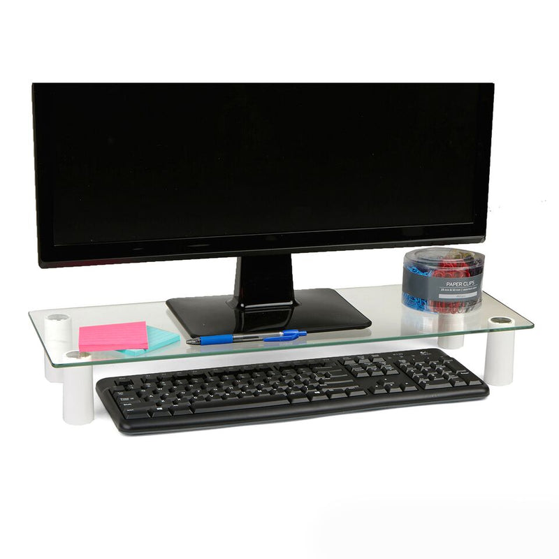 Mind Reader Glass Monitor Stand Riser for Computer