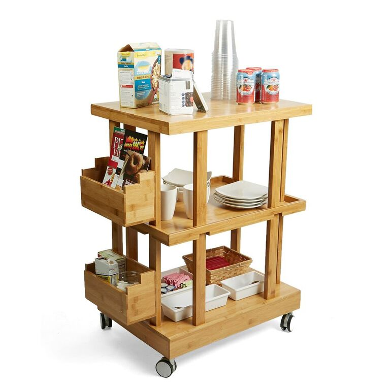 1f41e2b11e65 Mind Reader Breakroom Supplies | 3-Tier Kitchen Utility Cart with 2 ...