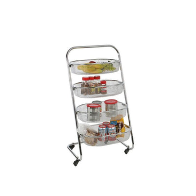 Mind Reader 4 Tier Metal Wire Rolling Basket All Purpose Utility Cart Rack