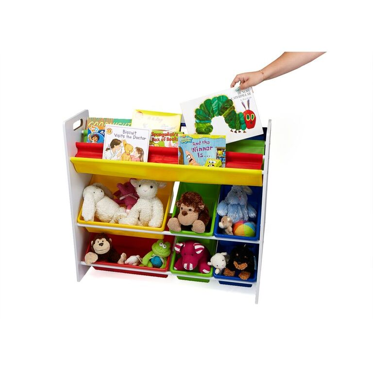 Mind Reader Fabric Sling Book Shelf and Toy Organizer