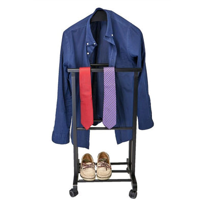 Mind Reader Wood Standing Valet Double Rack