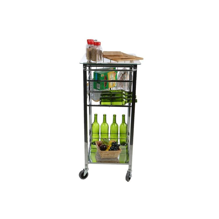 Mind Reader Glass Top Mobile Kitchen Cart