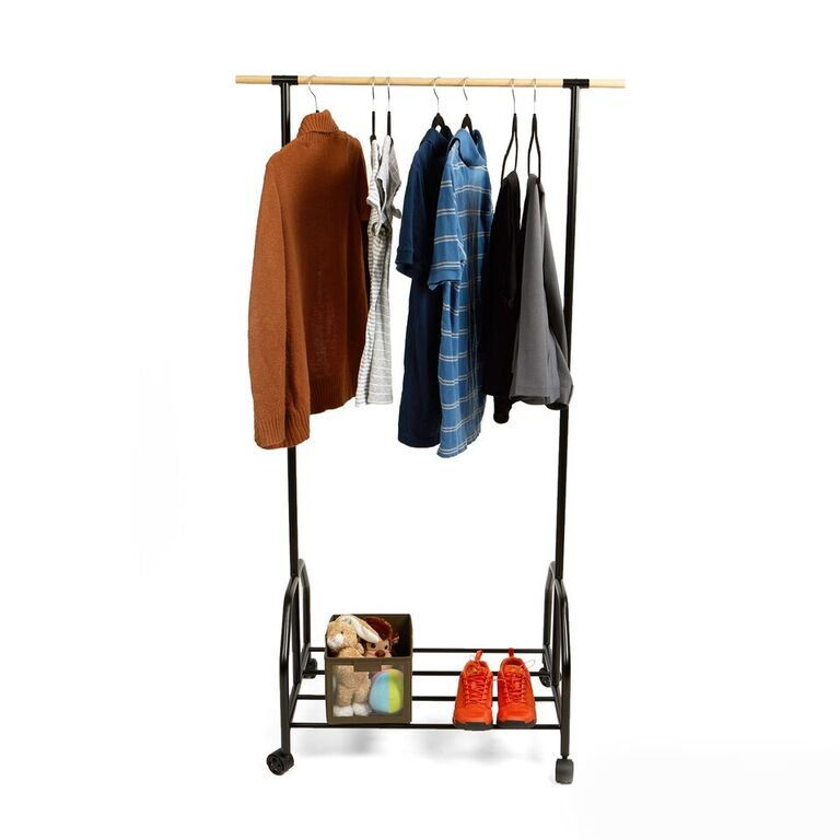 Mind Reader Rolling Garment Rack with One Bottom Shelf