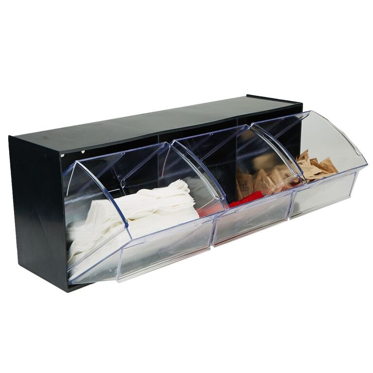 Mind Reader Multi Purpose Storage Tilt Drawer, 3 Compartment Removable Bins, Tip Out Clear Bins
