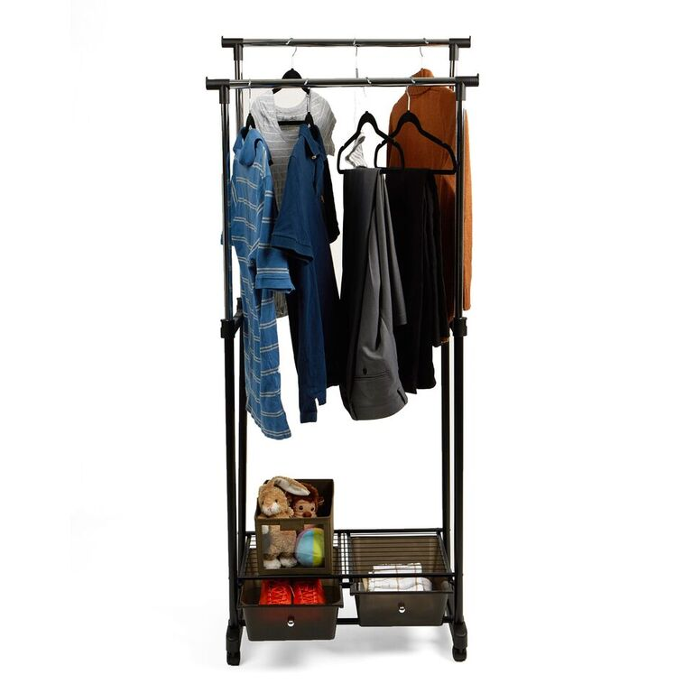Mind Reader Double Garment Rack with 2 Bottom Drawers