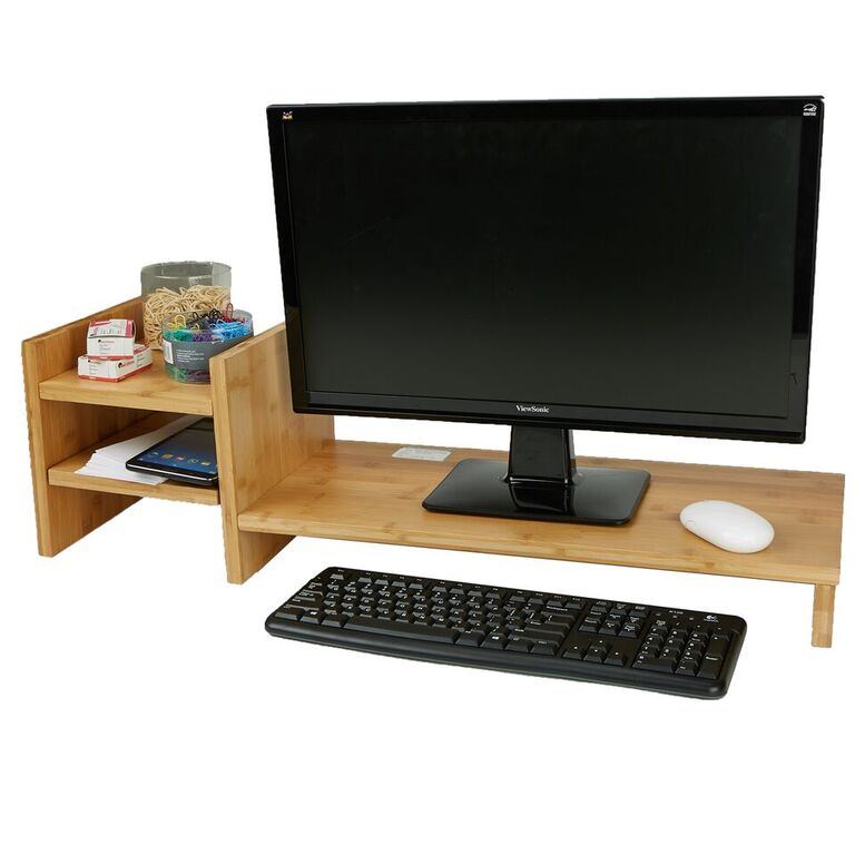 Mind Reader Monitor Stand Riser Organizer, 2 Tier Storage, Desktop, Monitor, Laptop